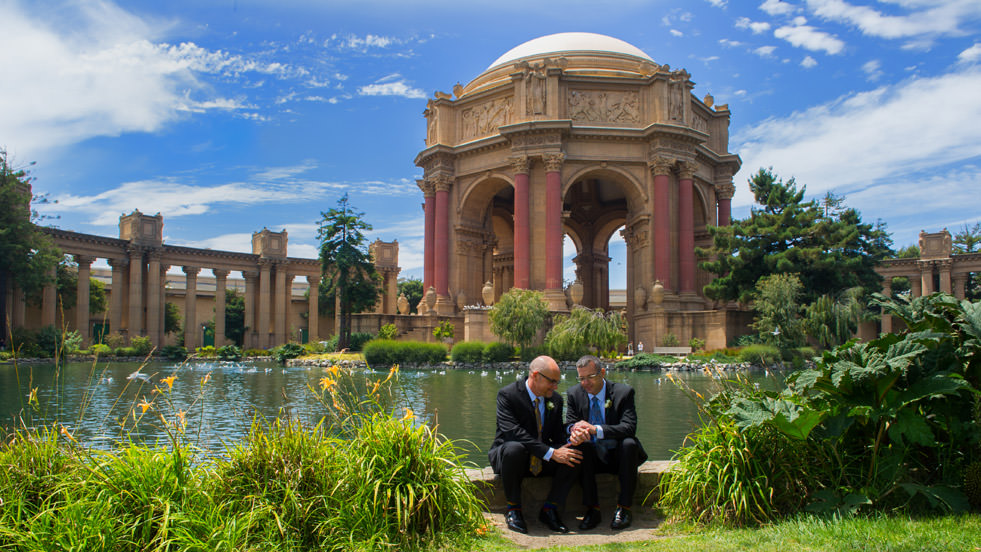 gay wedding at the Palace of Fine Arts